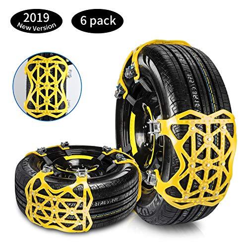 Qisiewell Universal Schneeketten 2020 Gelb Einfach zu montieren Reifen Schneekette für Jede Reifenbreite 165-285mm 6-teiliges Set