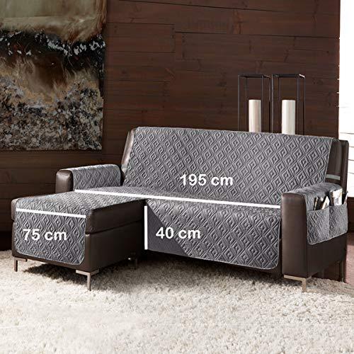 la biancheria di casa Slippy Plus CopriDivano Trapuntato Antiscivolo 3D (Seduta 195 cm Penisola Sinistra (Vista Frontale), Grigio Scuro)
