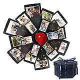 HebyTinco - Album Fotografico Pieghevole Fai da Te con Sorpresa Creativa Fai da Te, per Compleanno, Anniversario, San Valentino, Matrimonio (black1)