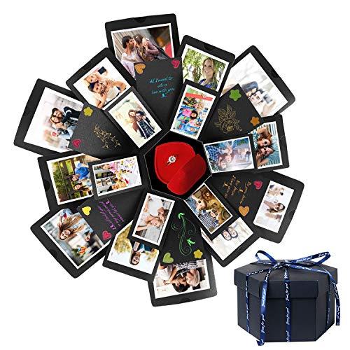 HebyTinco Explosion Box Sorpresa Box Caja de Foto Hecha a Mano de Bricolaje Regalo de álbum de Recortes de Memoria de Amor 6 Caras para Navidad Cumpleaños Aniversario Regalo de Boda de San Valentín
