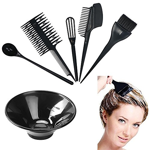 MissLytton Hair Dye Color Tool Kit, Professional Hair Highlighting Coloring Dyeing Kit, Includes Hair Color Mixing Bowl, Applicator Tint Brush Comb Set for Salon and Home Use (Set of 6)