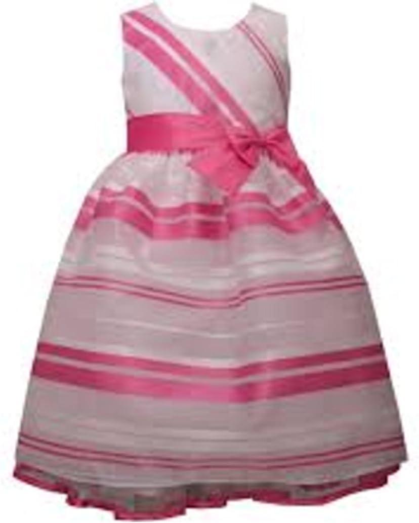 Bonnie Jean Girls Burnout Stripe Special Occasion Dress, Pink/White