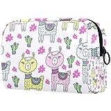 Bolsa de maquillaje personalizada para brochas de maquillaje, bolsas de aseo portátiles para mujeres, bolso cosmético, organizador de viaje, lindo bebé alpaca