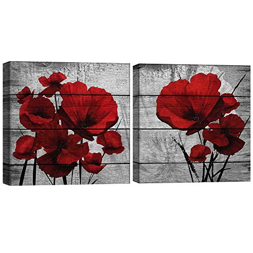Poppy Wall Art,Big Red Poppies Canvas Wall Decor,Red Black Gray 2 Piece Print Pictures,Crimson Red Flower Bedroom Living Room Decals,Dining Room Kitchen Framed Artwork,Bathroom Poster Decoration Gift