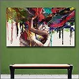 ganlanshu Couple Abstrait câlin Ensemble Art Amour Baiser Peinture sur Toile Salon décoration de la Maison HD,Peinture sans Cadre,45x67cm