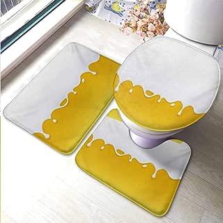 Bath Rug Contour Mat Lid Cover Non-Slip Yellow and White,Dripping White Milk Cream Paint Yogurt on Yellow Honey Background Print,Yellow White,Baby Crawling Area Mats