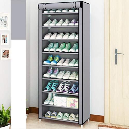 SoSo-BanTian1989 Grey 10 Tiers Shoe Rack with Dustproof Cover Closet Shoe Storage Cabinet Organizer