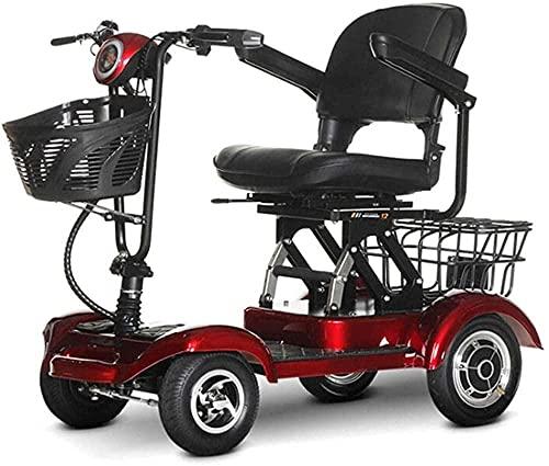 Travel Mobility Scooter Rueda eléctrica Rueda para Silla de Ruedas Cama con Ruedas para Adultos Mayores - Chaveta de Movilidad compacta y Plegable - Adulto Mayor / Discovery-Red ✅
