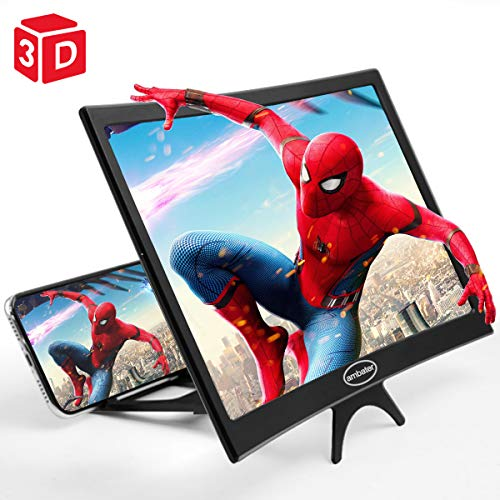12'' Curved Screen Magnifier Cell Phone 3D HD Anti-Blue Light Amplifier Projector Screen Enlarger for Movies, Videos, and Gaming, Foldable Phone Stand Compatible with iPhone and Android All Cellphones
