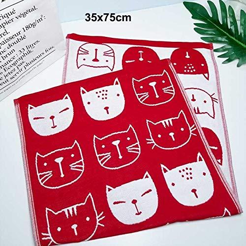 weichuang Toalla de baño de gasa de algodón, estampado de gato japonés, absorbente de agua, para el hogar, niños, adultos, baño, baño AB lateral de baño (color: 1 toalla de cara 1)
