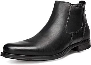 XinQuan Wang Chelsea Boot for Men Ankle Boot Pull on Genuine Leather Pointed Toe Side Zipper Vegan Burnished (Fleece Inside &Taller Optional) (Color : Black-Taller, Size : 6 UK)