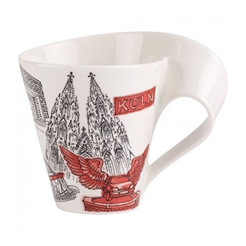 Villeroy & Boch Cities of the World Kaffeebecher Köln 2, 300 ml, Premium Porzellan, rot