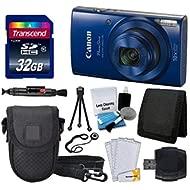 Canon PowerShot ELPH 190 is Digital Camera (Blue) + Transcend 32GB Memory Card + Camera Case +...