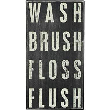 Primitives by Kathy 17388 Classic Box Sign, 8  x 15  x 1.75 , Wash Brush Floss