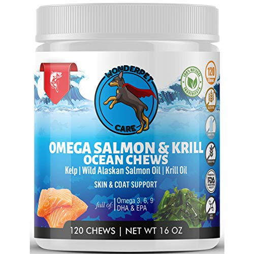 Wild Alaskan Salmon & Krill Oil Chews for Dogs | 120 Soft Treats | Omega 3 6 9 Fish Supplement with EPA, DHA for Itch Free Skin Coat Joints | Allergy Relief | Reduce Hair Shedding | Grain Free | USA
