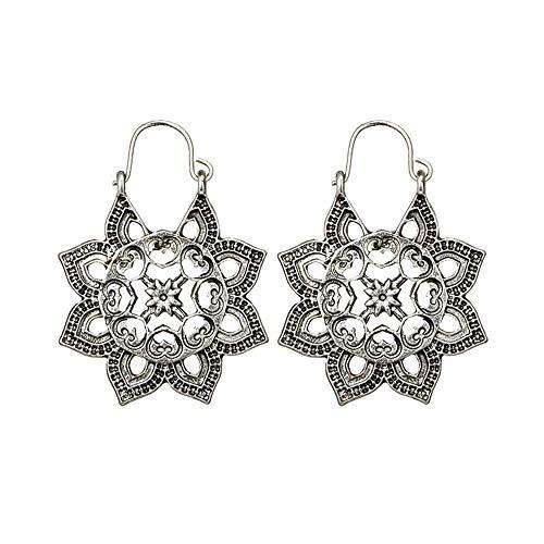 Pendientes bohemios, Minshao de plata envejecida, estilo gitano, tribal étnico, con forma de mandala