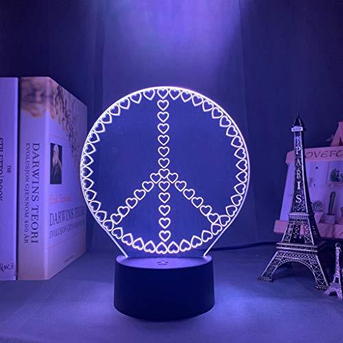 Arte creativo Luz de noche acrílica LED Color cambiante Corazón 3D Lámpara de mesa Decoración Habitación Regalo