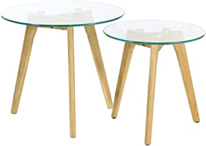 THE HOME DECO FACTORY HD3207 Table GIGOGNE en Verre TREMPE X2, Bois, Transparent, 50x50x43,5 cm
