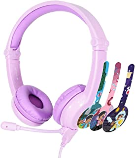 BuddyPhones - Galaxy, Volume-Safe Gaming Foldable Headset for Kids, Detachable 3.5mm Jack with High-Performance BeamMic, Perfect for Gaming on a PS4, Xbox One, Nintendo Swith, or PC (Purple)