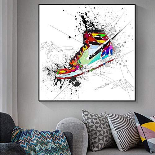 WKHRD Aquarell Sneaker Schuhe Leinwand Gemälde an der Wand Kunst Poster und Drucke Mode Sportschuhe Bilder für Jungen Zimmer Dekor -60x60cm (kein Rahmen)