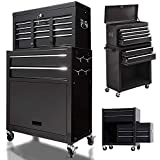 8 Drawers Large Space Capacity Rolling Tool Chest, 2 in 1 Mobile Lockable Drawers Steel Tool Box Cabinet and Storage Organizer Cart with Wheels, Toolbox Combo for Workshop Garage (Black)