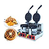 Intbuying Nonstick 110V Electric Dual Rotary Waffle Baker Maker Machine Iron for Dessert Making 110V