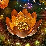 Garten Lotusblüte Deko Solar Lotusblüte für Außen Garten Deko Leuchten, traumhafte Lichteffekte durch Bruchglasoptik Solarlampe(1pc)
