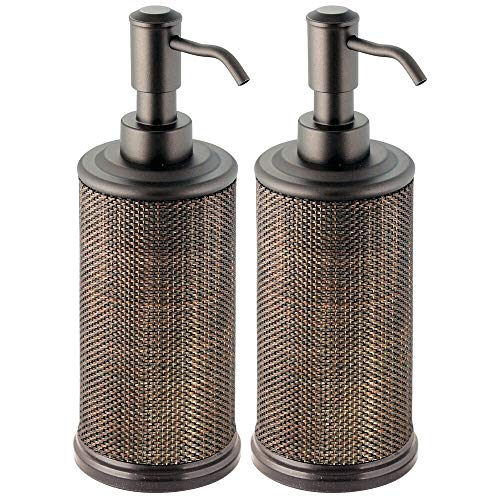 mDesign Round Metal Refillable Liquid Hand Soap Dispenser Pump Bottle for Kitchen, Bathroom   Also Can be Used for Hand Sanitizer & Essential Oils - Woven Accent, 2 Pack - Bronze