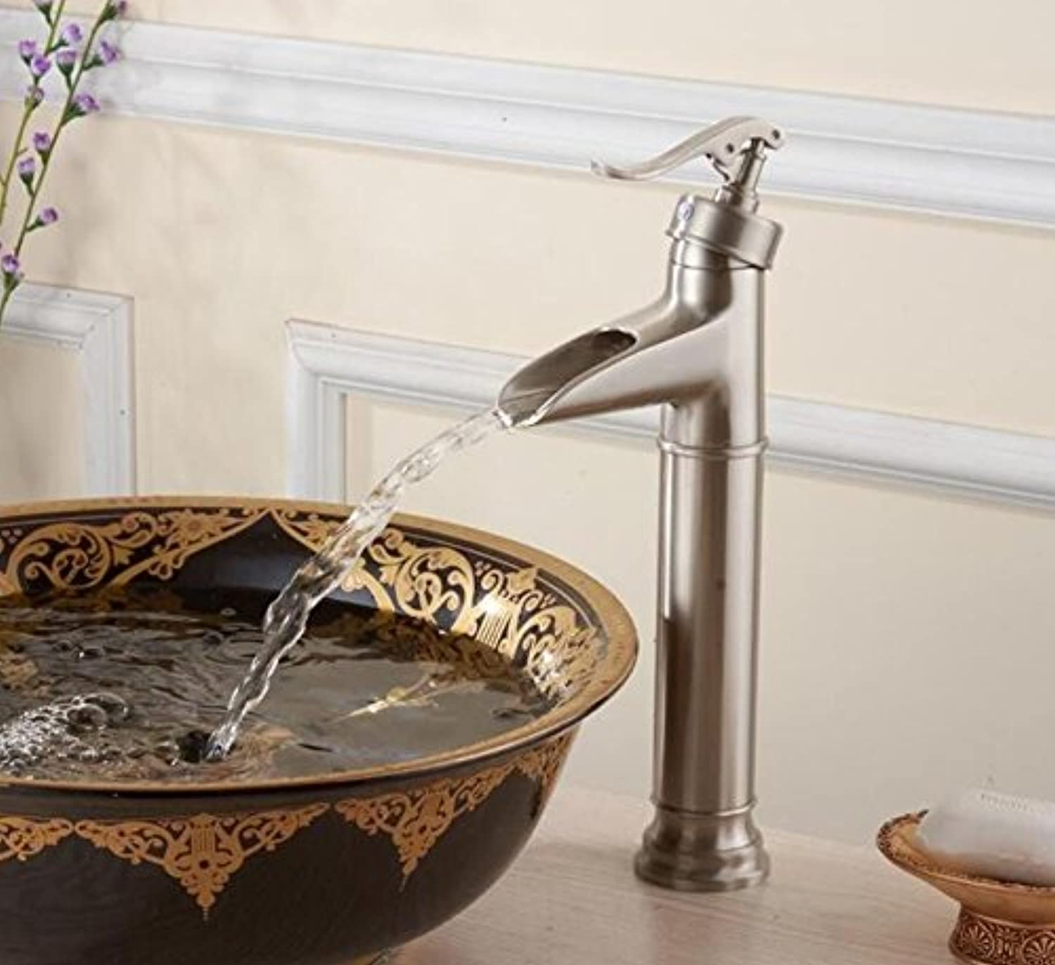 Mkkwp Bathroom Waterfall Nickel Brushed Single Hole Deck Mounted Mixer Taps Bathroom Hot and Cold Water Basin Faucets
