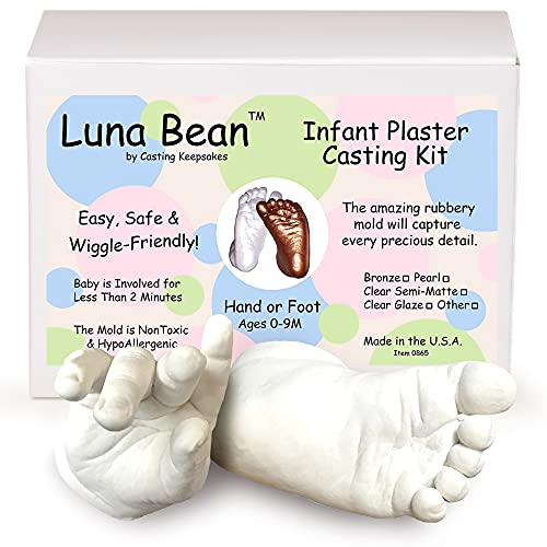 Luna Bean Baby Keepsake Hand Casting Kit - Plaster Hand Mold Casting Kit for Infant Hand & Foot Mold - Baby Casting Kit for First Birthday, Christmas & Newborn Gifts - (Clear Sealant - Gloss)