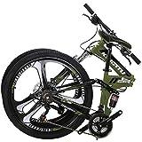 OBK G6 26' Full Suspension Folding Mountain Bike 21 Speed Bicycle Men...