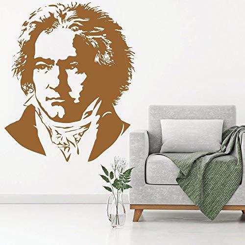 ASFGA Banksy Beethoven Compositor Piano Música Pianista Tatuajes de Pared Decoración Vinilo Arte Pegatina Hogar Dormitorio Sala de Estar Calcomanía Habitación de los niños Club 57X70CM
