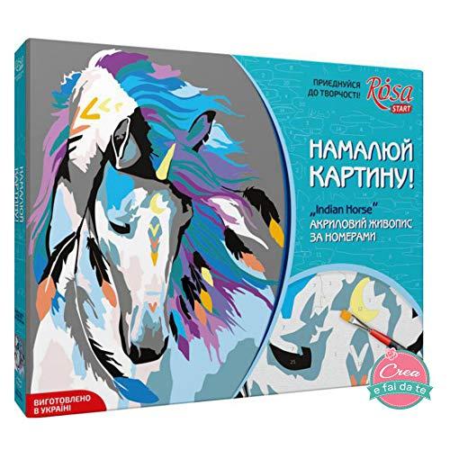 Pink Start Set om te knutselen op canvas, acrylverf - schilderijen met cijfers - Indian Horse - afmetingen 35 x 45 cm