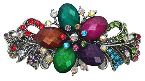 Bella Large Barrette with Beads and Crystals Hair Clip for Women U86012-0052multi