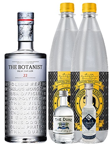 Gin-Set The Botanist Islay Dry Gin 0,7 Liter The Duke München Dry Gin 5 cl + Citadelle Gin aus Frankreich 5 cl + 2 x Thomas Henry Tonic Water 1,0 Liter
