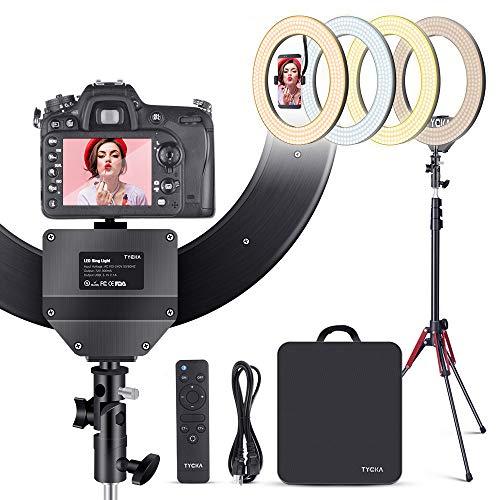 TYCKA Anneau Lumineux LED 45cm (Diamètre) avec Trépied Support de Téléphone pour Diffusion en Direct 480 LED Abat-Jour en Alliage d'aluminium Source d'éclairage Annulaire Selfie 4 Modes de Couleur