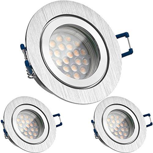 3er IP44 LED Einbaustrahler Set Bicolor (chrom/gebürstet) mit LED GU10 Markenstrahler von LEDANDO - 5W DIMMBAR - warmweiss - 60° Abstrahlwinkel - Feuchtraum/Badezimmer - 50W Ersatz - A+ - LED Spot
