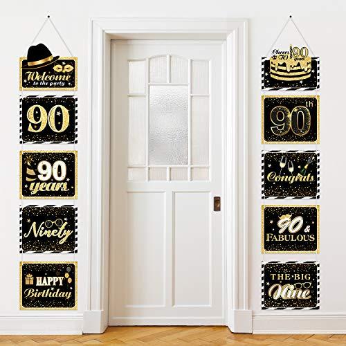 Große Happy Birthday Zeichen Ausschnitte Banner Geburtstag Jubiläum Dekoration Party Lieferung Türschild Geburtstag Thema Party Wand Dekoration Zeichen 10 Zählt (90 Jahre)