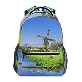 FANTAZIO sac à dos extra grand printemps hollandais moulin à vent avec agneaux sac à dos