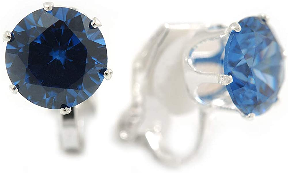 8mm Blue Round Cut Cz Clip On Earrings In Rhodium Plating