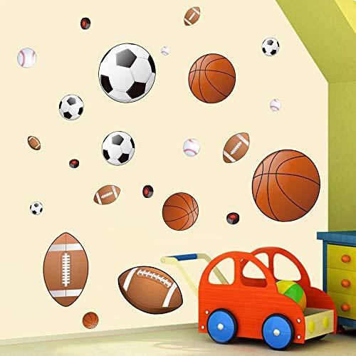 Runtoo Pegatinas de Pared Infantiles Deportes Stickers Adhesivos Vinilo Baloncesto Fútbol Decorativas Habitacion Bebe