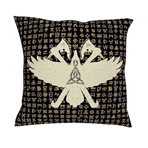 CCMugshop Zwarte Keltisch Odins Rabe gekruiste bijlen triskelion tatoeëren print katoen linnen decoratief werp kussenslopen ultrazacht vierkant kussensloop voor bed geschenken