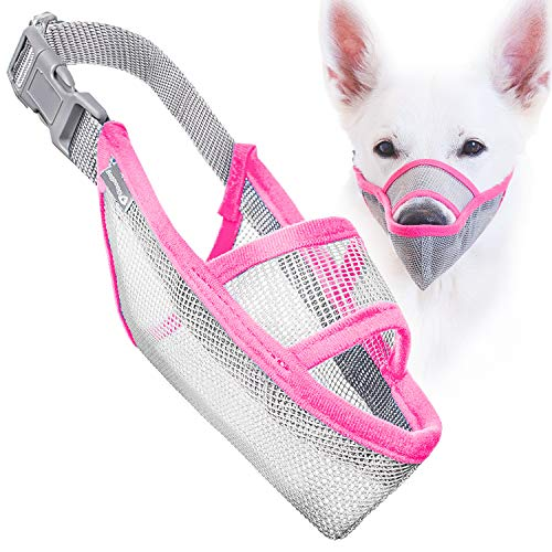 Gentle Mesh Muzzle Guard Dogs - Prevents Biting Unwanted Chewing Safely Secure Comfort Fit - Soft Neoprene Padding – No More Chafing – Included Training Guide Helps Build Bonds Pet (Pink, 4)