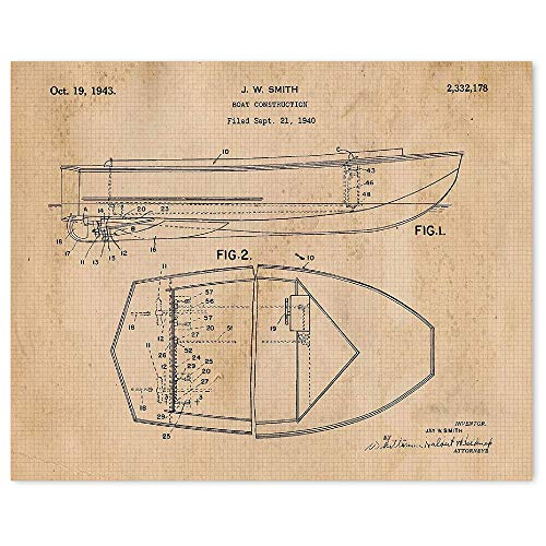 Vintage Chris Craft 1943 Boat Patent Art Poster Prints, Set of 1 (11x14) Unframed Photo, Great Wall Art Decor Gifts Under 15 for Home, Office, Garage, Man Cave, River Guide, Hunting & Fishing Fan