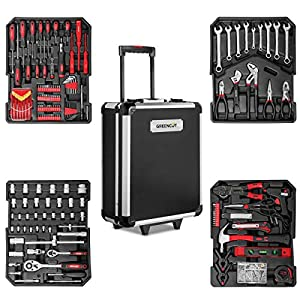 GREENCUT TOOLS819 - Set de herramientas con 819 piezas, Maleta trolley 2 ruedas y asa telescopica, Juego de Herramientas de reparación hogar Piezas Taller