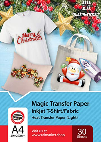 Raimarket Iron on Heat Transfer Paper for Light or White Fabric | 30 Printable Sheets | 8.5 x 11"