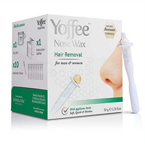 #1 BESTSELLER Yoffee Nose Wax - Made in Spain - NASENWACHS-SET MIT 10 APPLIKATOREN - Entfernt Nasen & Ohrenhaare - Aus 100% Bio Bienenwachs - SICHER - SCHNELL - SCHMERZLOS - Einfache Anwendung - Paraben & Phthalatefrei / 50gr.