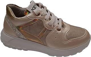 Keys Scarpe Donna Sneakers in Pelle Avorio e Oro 802-AVORIO