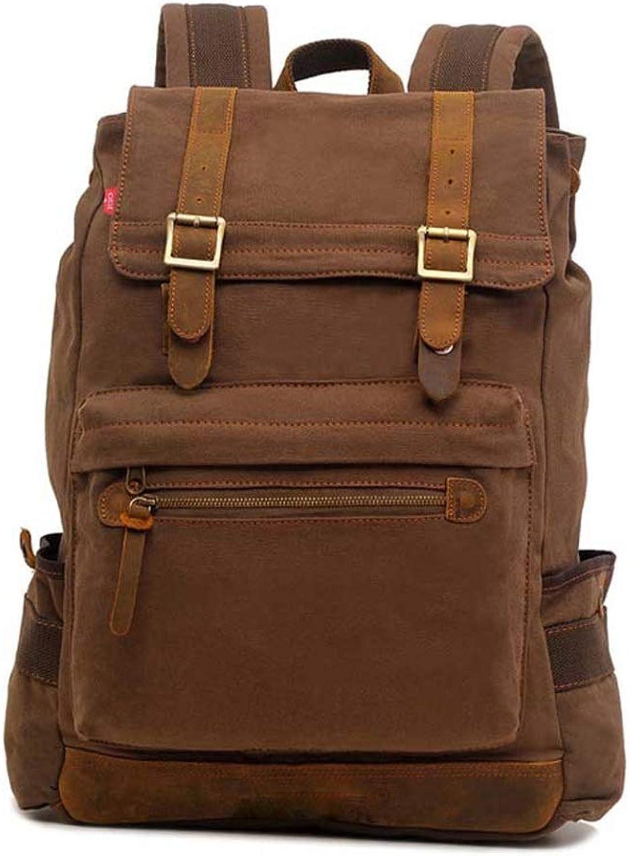 Unisex Canvas Bag Groe Kapazitt Casual Rucksack Middle School Student Computer Handtasche Camping (Farbe   Braun, gre   42  13  50cm)