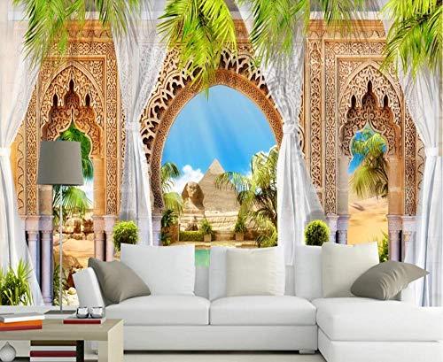 Papel Pintado Pared 3D Paisaje De Columna Romana Con Hojas Verdes. Fotomurales Decorativos Pared Decoración Mural Pared